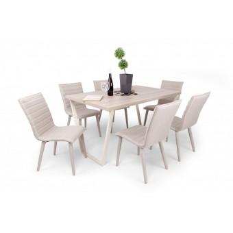 Anton 6 személyes étkező, Amszterdam asztallal  Fém vázas étkezők 6 személyes étkező garnitúrák