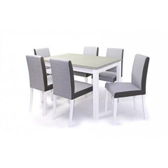 Kanzo, szövetes 6 személyes étkező, Mokka asztallal  6 személyes étkező garnitúrák