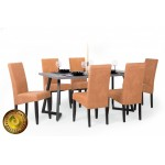 Berta Elegant étkező, Caesar asztallal  6 személyes étkező garnitúrák Fém vázas étkezők